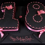 Black Coloured Figure 18 Birthday Cake