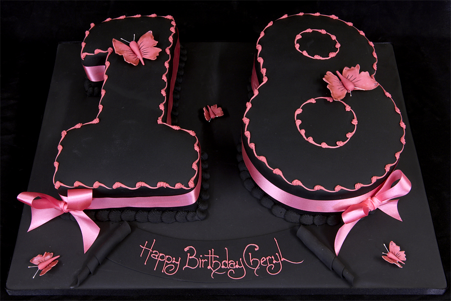 Birthday Cakes | 18th Birthday Party Ideas » Black Coloured Figure 18 ...