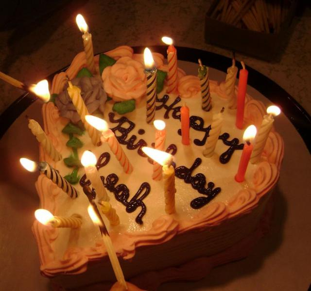 Birthday cake shaped candles