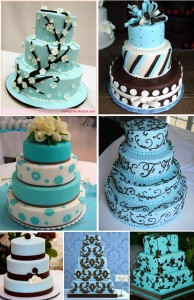 Blue & Brown Wedding Cake Ideas