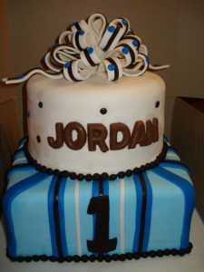 Blue and Chocolate Brown Birthday Cakes