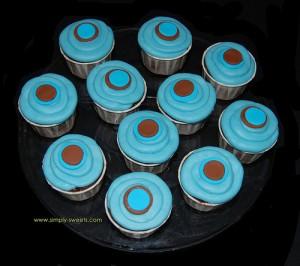 Blue and brown polka dot cupcakes
