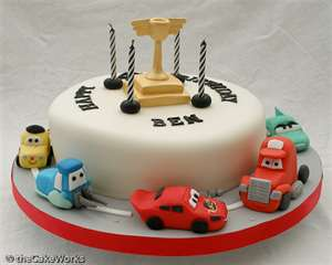 Tier Fire Truck Cars Birthday Cake