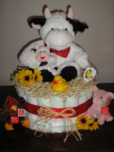 Farm Animal Baby Shower Cake