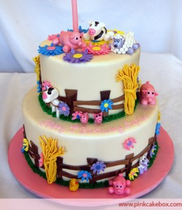 First Birthday Farm Animal Cake