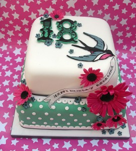 Funky Pink Wonky 18th Birthday Cake