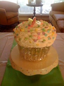 Giant Orange Cupcake Birthday Cake