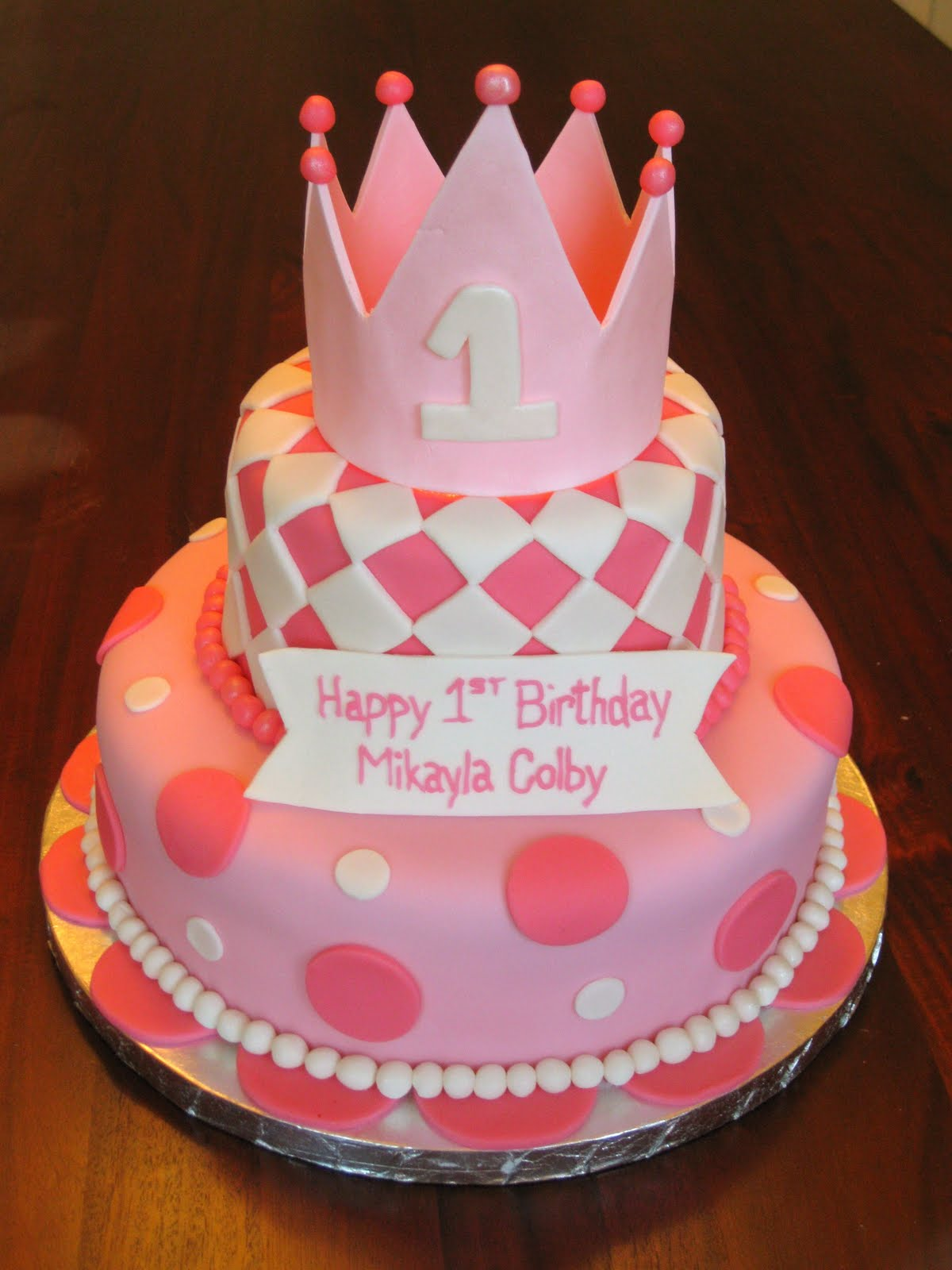 Girls First Birthday Cakes » Girls custom fondant birthday cakes