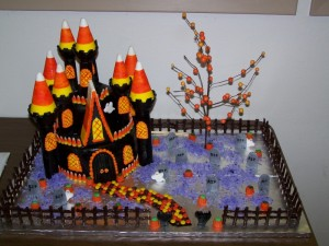 Halloween Candy Corn Castle Cake