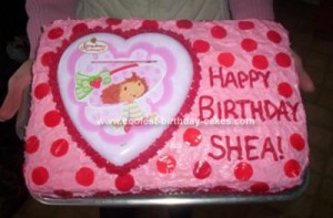Happy Birthday Heart Cookie On Strawberry Cake