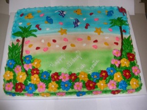 Hawaiian luau birthday cakes
