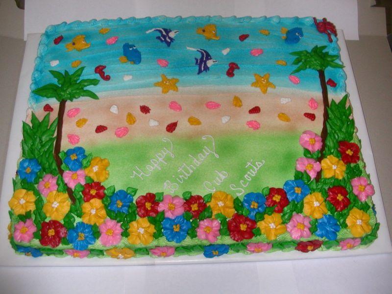 Hawaiian Luau Birthday Cakes