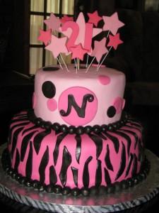 Hot Pink & Black Stars 21st Birthday Cake
