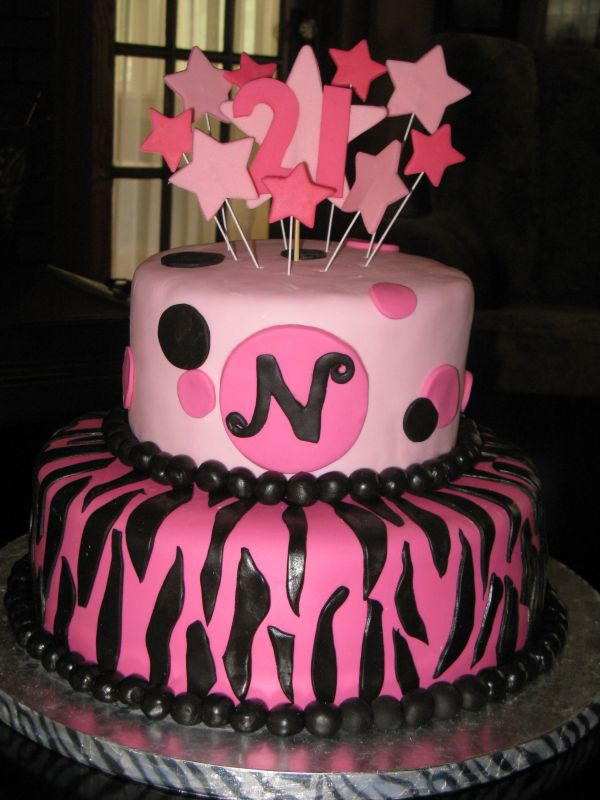 Prime Hot Pink Black Stars 21St Birthday Cakebest Birthday Cakesbest Personalised Birthday Cards Veneteletsinfo