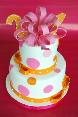 Hot Pink & Orange 21st Birthday Cake