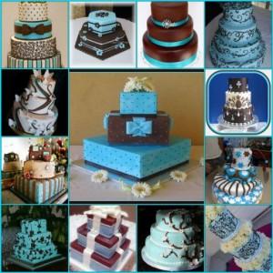 Inspiring Chocolate Brown & Blue Wedding Cakes