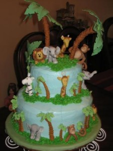Jungle theme shower cake