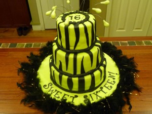 Lime green and zebra stripe Sweet Sixtee 300x225 Green Sweet 16 Birthday Cakes