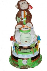 Monkey Giraffe Jungle Theme 3 Tier Diaper Cakes