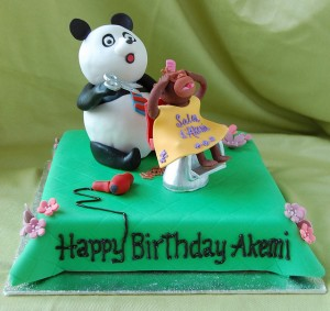 Panda & Monkey Birthday Cake