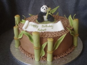 Panda and Bamboo birthday cake