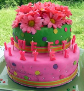 Pink and Green sweet 16 278x300 Green Sweet 16 Birthday Cakes