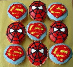 Spiderman superhero cupcakes