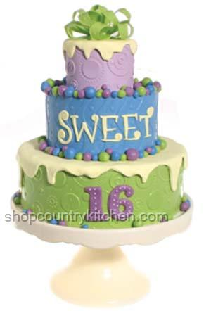 Sweet 16 Dot Explosion Birthday Cake Green Sweet 16 Birthday Cakes