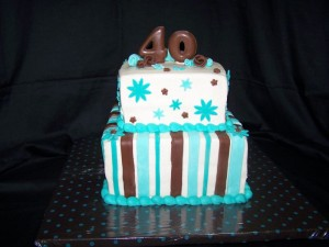 Turquoise Blue and Brown Birthday Cake