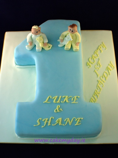 1st birthday cake for twin boys